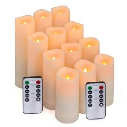Aignis Flameless Candles, Led Candles Set of 12(D 2.1″ X H 4″ 5″ 6″ 7 ...