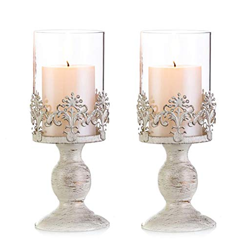 Nuptio Pcs of 2 Vintage Metal Pillar Candle Holder Antique Hurricane Candlestick with Glass Scre ...