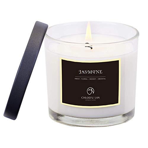 CHLOEFU LAN Jasmine Scented Soy Jar Candle Highly Scented & Long Lasting & Slow Burning( ...