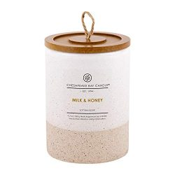 Chesapeake Bay Candle Scented Ceramic Jar Candle with Lid, Milk & Honey, Small, White