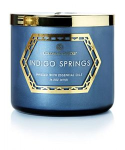 Colonial Candle 14.5Oz Geo Luxe – Indigo Springs, 3 Wick Scented Jar Candle