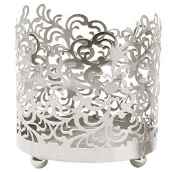 Hosley Metal Jar Candle Sleeves/Holders – Your Choice of Colors and Designs (Silver)