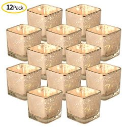 DerBlue Square Mercury Glass Candle Holders Set of 12, Speckled Fish Votives for Wedding Centerp ...