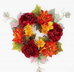 ES ESSENTIALS Fall Autumn 14″ Wreath Candle Ring, Peony Dahlia Hydrangea