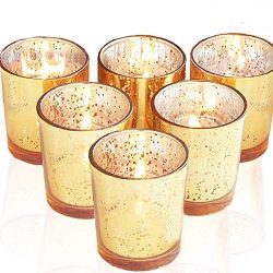 Miola Glass Candle Holders Mercury Votive Tealight Holders Gold 6pcs for Valentine's day,  ...