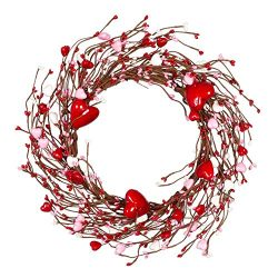 VGIA 14 Inches Red Pip Berry Wreath, Artificial Spring Wreath for Front Door, Gifts for Girl Fri ...