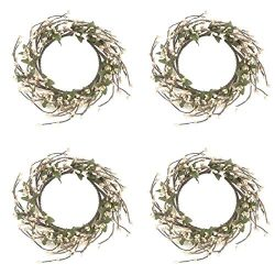 Factory Direct Craft Pearl Pip Berry and Leaf Candle Rings | 4 Candle Rings | for Indoor Decor