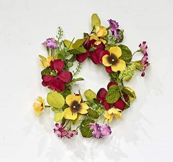 Worth Imports 4.25″ RED & Yellow Pansy Set of 2 Candle Ring, Yellow,Red,Pink,Green