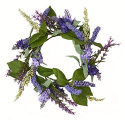 Worth Imports W/Leaf Lavender Candle Ring withLeaf, 4.5″