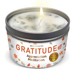 Gratitude Aromatherapy Candle for an Appreciation Meditation – Sage, Rose, Jasmine, Lavend ...