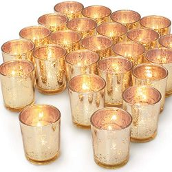 Haviti Gold Votive Candle Holders Set of 24 – Mercury Glass Votive Tealight Candle Holder  ...