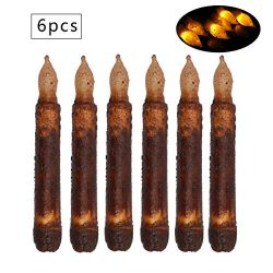 Set of 6 Primitive Candles LED Taper Candles Real Wax Pillar Brightly Realistic Yellow Battery O ...