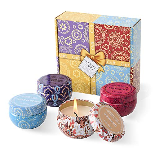 Aromatherapy Candles, Scented Candles Gift Sets for Women 2.2oz x 4 Pack Portable Travel Tin Can ...