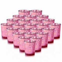 RistaJade 24-Pack Rose Gold Votive Candle Holders Bulk, Speckled Mercury Tealight Candle Holders ...