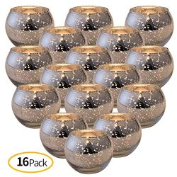 DerBlue 16Pcs Round Votives, Mercury Glass Candle Holders for Wedding Centerpieces, Valentines D ...
