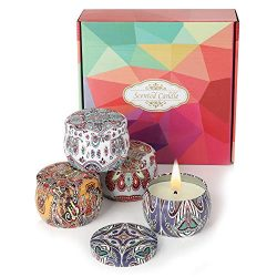 Aromatherapy Candles, 4 x 4.4 Oz Gift Set Natural Soy Wax Scented Candles With Smoke Free Relaxi ...