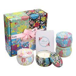 NAVND Gardenia, Lavender, Jasmine and French Vanilla Aromatherapy Candle Gift Set, Anniversary,  ...