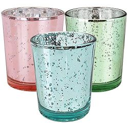 Just Artifacts 12pc Spring Mercury Glass Votive Candle Holders (Color: Hello Spring)