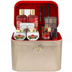 Premium Bath and Body Gift Basket For Women – 30 Piece Set, Pink Grapefruit Home Spa and M ...