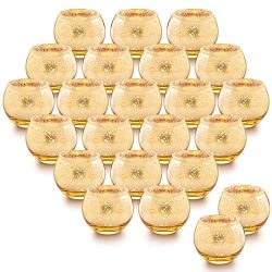 LETINE Gold Votive Candle Holders Set of 36 – Round Speckled Mercury Gold Glass Candle Hol ...