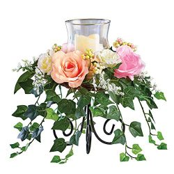 Pastel Colored Roses with Cascading Ivy Candle Holder Centerpiece, Beautiful Tabletop or Mantle  ...