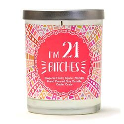 I'm 21 | Tropical Fruit, Spice, Vanilla | Scented Soy Candles | 10 Oz. Jar Candle | Made i ...