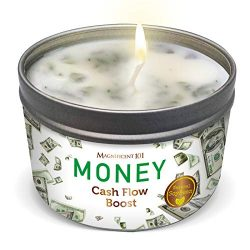 Money Aromatherapy Candle for Getting a Cash Flow Boost – Sage Cinnamon Scented Natural So ...