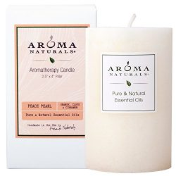 Aroma Naturals Essential Oil Orange, Clove and Cinnamon Scented Pillar Candle, Peace Pearl, 2.5  ...