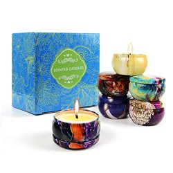 Scented Candles Gifts Sets, 6 Pack 2.5 Oz Natural Soy Wax Candles with Tin Gift for Women, Anniv ...