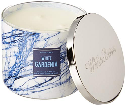 White Barn Bath and Body Works 3 Wick Candle White Gardenia 14.5 Ounce White Blue Marble Label