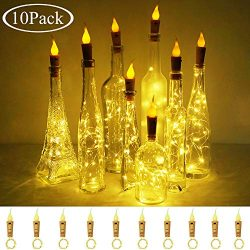 Decorman Wine Bottle Cork Lights with Candle Flame 10 Packs 20 LED Warm White Battery Operated C ...