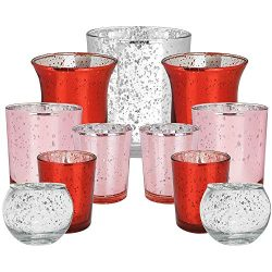 Just Artifacts 11pcs Assorted Size Valentines Day Metallic Glass Votive Candle Holders (Color: B ...