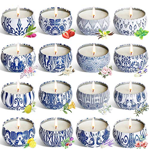 YIH Gift Package Scented Candles Natural Soy Wax Portable Travel Tin Candle,Set of 16