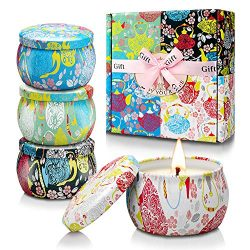 YMING Scented Candles Gift for Women, 4×4.4 Oz 120 Hours Natural Soy Wax Candles Set, Porta ...