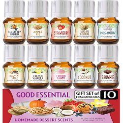 Homemade Desserts Good Essential Fragrance Oil Set (Pack of 10) 5ml – French Vanilla, Cott ...
