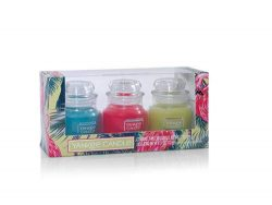 Yankee Candle Oasis Original Small Jar Candle Gift Set with a Poolside Oasis, a Roseberry Sorbet ...