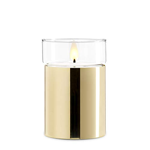 Giftable Decorative Flameless Candle Gold – Flickering Realistic LED, Battery Operated Ele ...