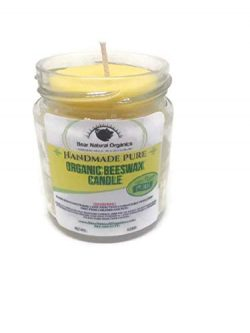 Handmade 100% Raw Organic Aromatherapy Eucalyptus Lemon Essential Oil Beeswax Candle 5oz.