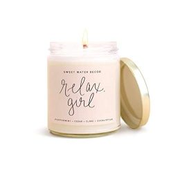 Sweet Water Decor RELAX GIRL Soy Wax Candle Spa Scented Candles For Her Motivational Quote Candl ...