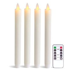 Eldnacele Flameless Taper Candles with Remote Timer, Moving Wick LED Window Candles Battery Oper ...