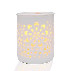 COKI Electric Candle Warmer with Dimmer Switch, Hollowed-Out Ceramic Flower Wax & Tart burne ...