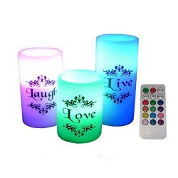 EGI – Set of 3 Flickering Flameless Candles with Multi Color Remote Control and Timer R ...