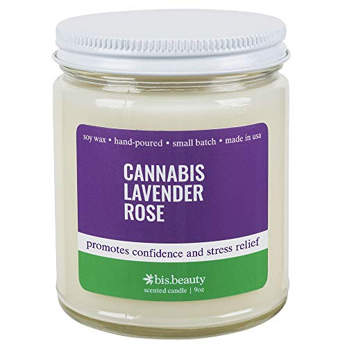 Cannabis Lavender Rose Aromatherapy Candle – Energy Healing Terpenes – Promotes Conf ...