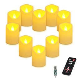 AKNMSOY Realistic and Bright Flickering LED Flameless Candles with Remote Timer, 10 Bulb Light,  ...