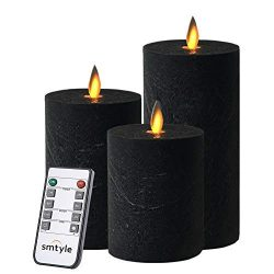 smtyle Black Flameless Candles Home Decor Set of 3 Battery Operated with Moving Flame Wick Flick ...