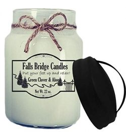 Falls Bridge Candles Green Clover & Aloe Scented Jar Candle, 26-Ounce, w/Handle Lid