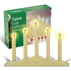 Tupkee Christmas Candolier Window Candles – with Flickering Bulbs – 5-Lights Indoor  ...