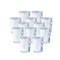 SUPREME LIGHTS Votive Candle Holders 12 Pack Silver Glass Tealight Holders for Weddings, Parties ...