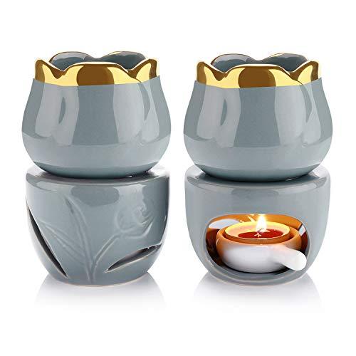 T4U Wax Melt Burners Essential Oil Burner Set of 2, Aromatherapy Aroma Burner Ceramic Oil Diffus ...