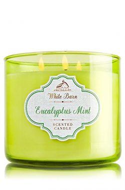Bath & Body Works White Barn 3 Wick Candle Eucalyptus Mint 14.5 oz